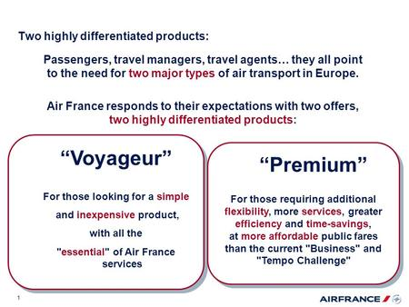 1 Passengers, travel managers, travel agents… they all point to the need for two major types of air transport in Europe. Air France responds to their expectations.