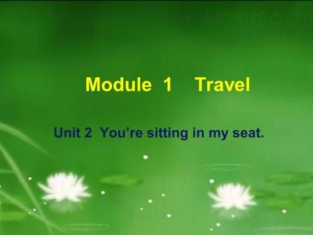 Module 1 Travel Unit 2 You're sitting in my seat.