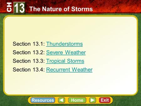 CH Section 13.1: ThunderstormsThunderstorms Section 13.2: Severe WeatherSevere Weather Section 13.3: Tropical StormsTropical Storms Section 13.4: Recurrent.
