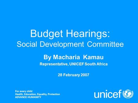Budget Hearings: Social Development Committee By Macharia Kamau Representative, UNICEF South Africa 28 February 2007.