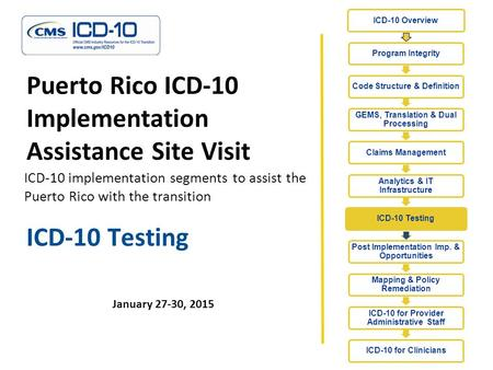 ICD-10 Testing January 27-30, 2015 Puerto Rico ICD-10 Implementation Assistance Site Visit ICD-10 implementation segments to assist the Puerto Rico with.