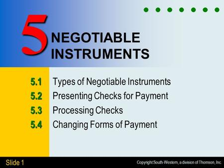 Copyright South-Western, a division of Thomson, Inc. Slide 1 NEGOTIABLE INSTRUMENTS 5.1 5.1 Types of Negotiable Instruments 5.2 5.2 Presenting Checks for.