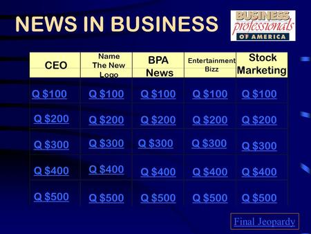 NEWS IN BUSINESS CEO Name The New Logo BPA News Entertainment Bizz Stock Marketing Q $100 Q $200 Q $300 Q $400 Q $500 Q $100 Q $200 Q $300 Q $400 Q $500.
