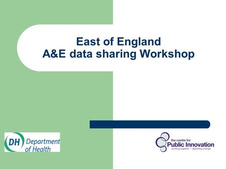 East of England A&E data sharing Workshop. WELCOME Mark Napier Managing Director, The Centre for Public Innovation Melvin Hartley Regional Alcohol Programme.