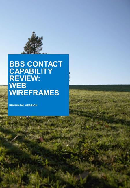 BBS CONTACT CAPABILITY REVIEW: WEB WIREFRAMES PROPOSAL VERSION.