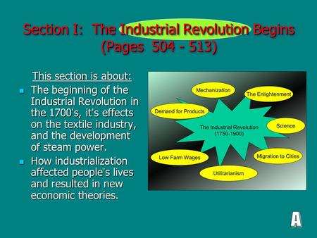 Section I: The Industrial Revolution Begins (Pages 504 - 513) This section is about: This section is about: The beginning of the Industrial Revolution.