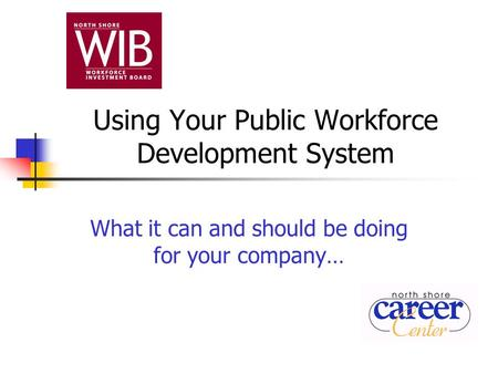 Using Your Public Workforce Development System What it can and should be doing for your company…
