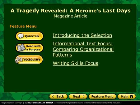 A Tragedy Revealed: A Heroine's Last Days Magazine Article