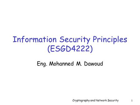 Information Security Principles (ESGD4222)