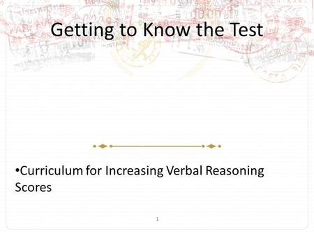 1 Getting to Know the Test Curriculum for Increasing Verbal Reasoning Scores.