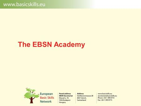 The EBSN Academy. The vision  The EBSN Academy aims at promoting European excellence in the field of initial and continuous professional training for.