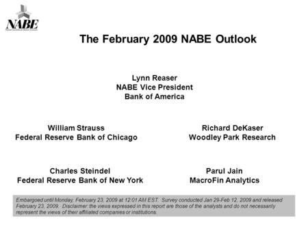 Lynn Reaser NABE Vice President Bank of America Richard DeKaser Woodley Park Research Charles Steindel Federal Reserve Bank of New York William Strauss.