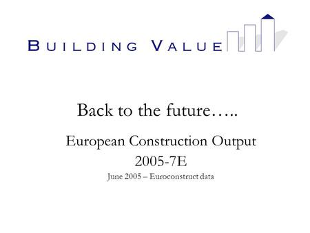 Back to the future….. European Construction Output 2005-7E June 2005 – Euroconstruct data.