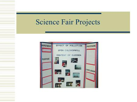 Science Fair Projects. 5 th Biannual Science Symposium  Partner project  Judged by science department with winners in each class competing for prizes.