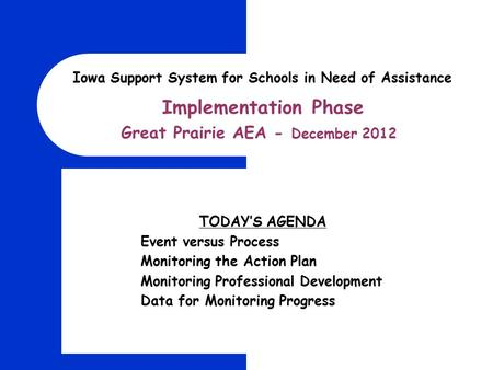 Implementation Phase Great Prairie AEA - December 2012 Iowa Support System for Schools in Need of Assistance TODAY'S AGENDA Event versus Process Monitoring.