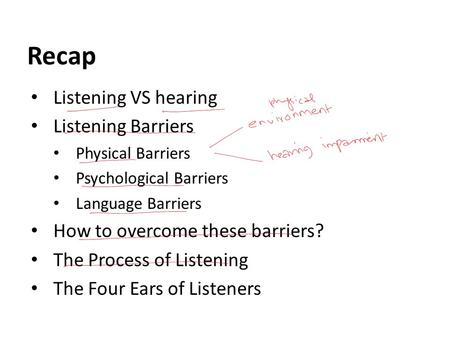 5 physical barriers to listening Start studying barriers to listening learn vocabulary, terms, and more with flashcards, games, and other study tools.