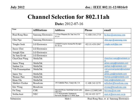 Doc.: IEEE 802.11-12/0816r0 Submission July 2012 Channel Selection for 802.11ah Date: 2012-07-16 Slide 1 Name AffiliationsAddressPhoneemail Huai-Rong Shao.