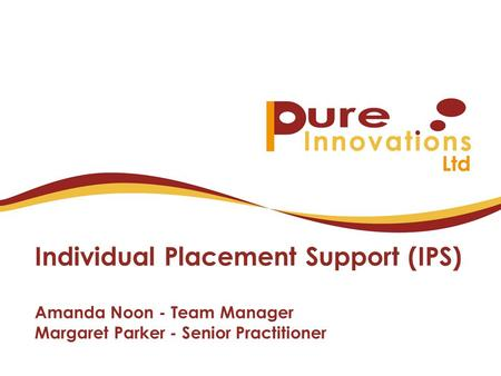 Individual Placement Support (IPS) Amanda Noon - Team Manager Margaret Parker - Senior Practitioner.