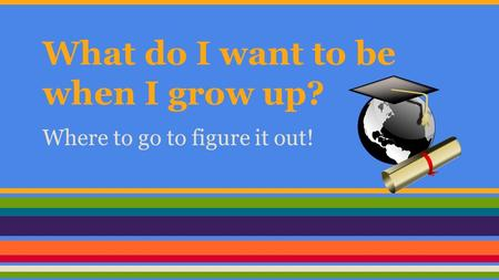 What do I want to be when I grow up? Where to go to figure it out!