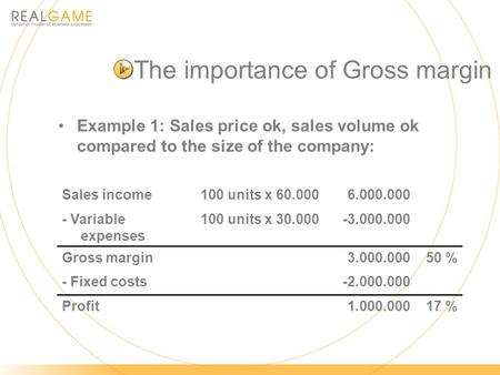 The importance of Gross margin Example 1: Sales price ok, sales volume ok compared to the size of the company: Sales income100 units x 60.000 6.000.000.