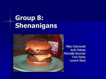 Group 8: Shenanigans Mike Ostrowski Josh Patsey Michelle Boomer Tom Parks Levent Niazi.