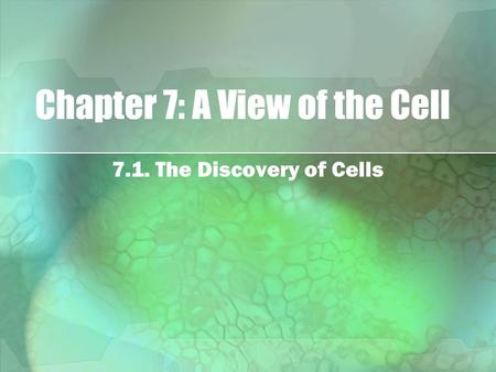 Chapter 7: A View of the Cell 7.1. The Discovery of Cells.