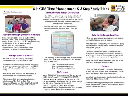 8 is GR8 Time Management & 3 Step Study Plans Background Information Students possess the capacity to learn time management skills (Zimmerman et al, 1994)