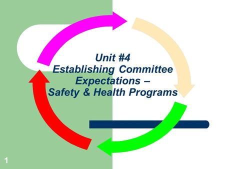 Unit #4 Establishing Committee Expectations – Safety & Health Programs 1.