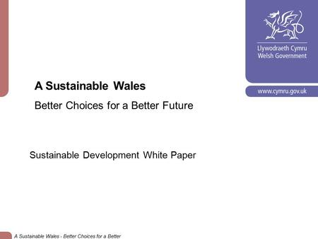 A Sustainable Wales Better Choices for a Better Future Sustainable Development White Paper A Sustainable Wales - Better Choices for a Better Future.