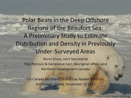 Polar Bears in the Deep Offshore Regions of the Beaufort Sea: A Preliminary Study to Estimate Distribution and Density in Previously Under-Surveyed Areas.