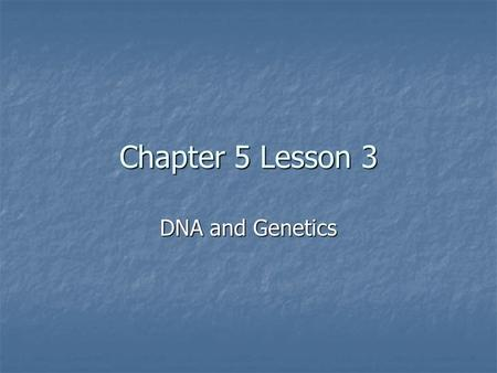 Chapter 5 Lesson 3 DNA and Genetics. The Discovery of the Structure of DNA James Watson and Fransis Crick Rosalind Franklin.