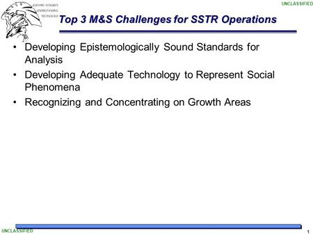 UNCLASSIFIED 1 Top 3 M&S Challenges for SSTR Operations Developing Epistemologically Sound Standards for Analysis Developing Adequate Technology to Represent.