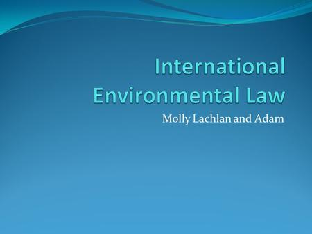 Molly Lachlan and Adam. Principals of International Environmental Law States may not allow their territory to be used in a way that is prejudicial to.