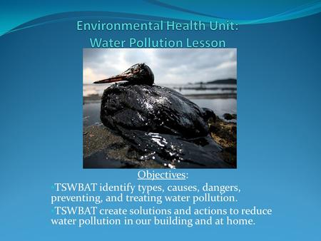 Objectives: TSWBAT identify types, causes, dangers, preventing, and treating water pollution. TSWBAT create solutions and actions to reduce water pollution.