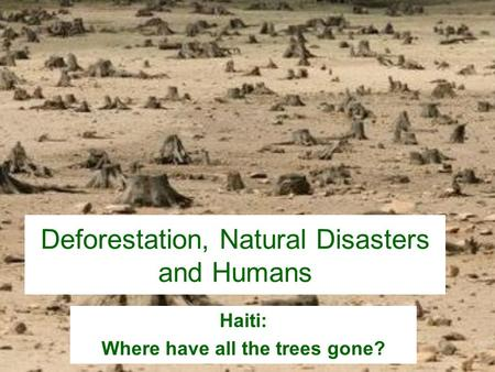 Deforestation, Natural Disasters and Humans Haiti: Where have all the trees gone?
