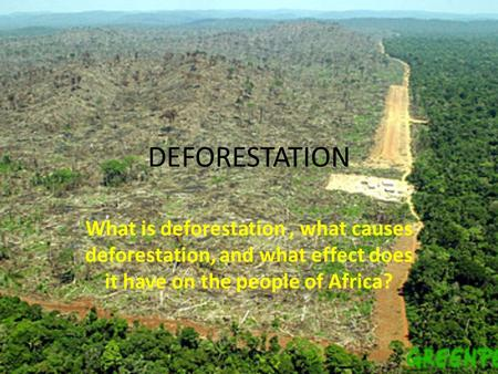 DEFORESTATION What is deforestation , what causes deforestation, and what effect does it have on the people of Africa?