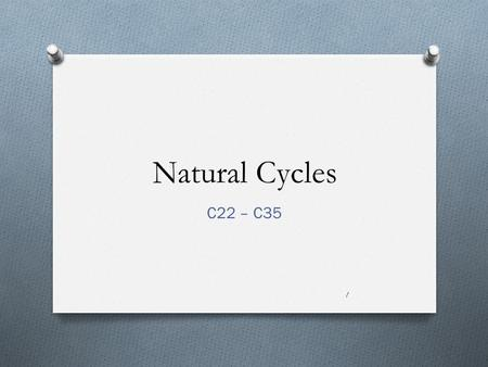 Natural Cycles C22 – C35 1. Natural Cycles of the Earth There are 3 important cycles to study in this unit: 1-THE WATER CYCLE 2-THE CARBON CYCLE 3-THE.