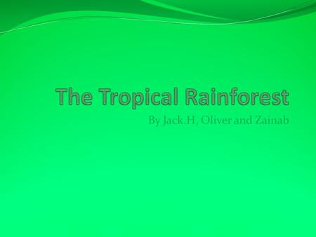 By Jack.H, Oliver and Zainab. By Jack.H Where Tropical Rainforests Are Found Tropical Rainforests are found… (38%)Latin America Except Brazil: The Amazon,