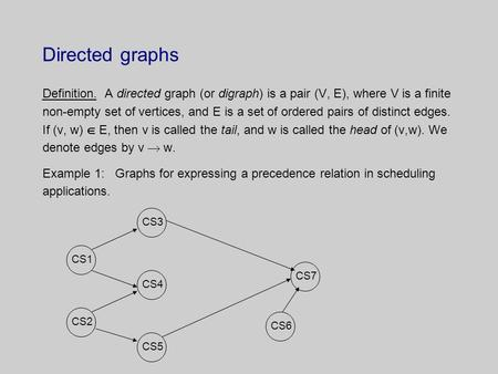 Directed graphs Definition. A directed graph (or digraph) is a pair (V, E), where V is a finite non-empty set of vertices, and E is a set of ordered pairs.