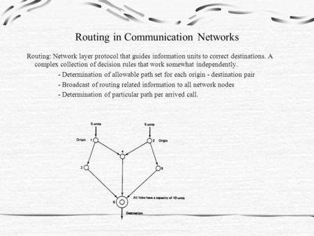 Routing in Communication Networks Routing: Network layer protocol that guides information units to correct destinations. A complex collection of decision.