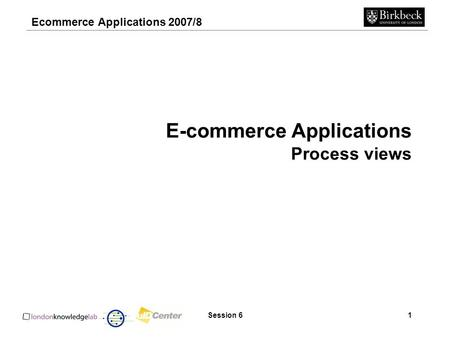 Ecommerce Applications 2007/8 Session 61 E-commerce Applications Process views.
