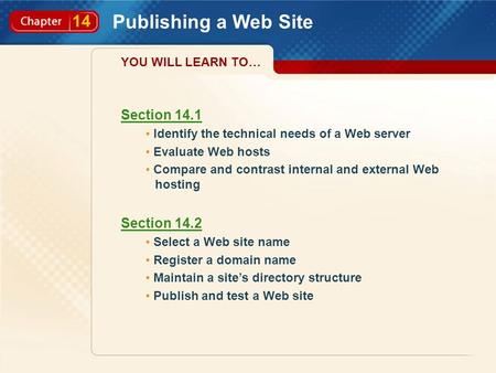 14 Publishing a Web Site Section 14.1 Identify the technical needs of a Web server Evaluate Web hosts Compare and contrast internal and external Web hosting.