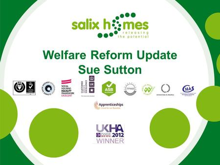 Welfare Reform Update Sue Sutton. Current position (end Sept 13) 1233 tenants under occupying. 73% are tenants under occupying are in arrears. (44% were.