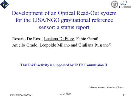 Paris May23rd 2012 L. Di Fiore 1 Development of an Optical Read-Out system for the LISA/NGO gravitational reference sensor: a status report Rosario De.