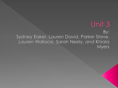 Unit 3 By: Sydney Eaker, Lauren David, Parker Stone, Lauren Wallace, Sarah Neely, and Khiala Myers.