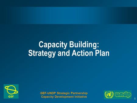 1 Capacity Building: Strategy and Action Plan GEF-UNDP Strategic Partnership Capacity Development Initiative.