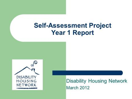 Self-Assessment Project Year 1 Report Disability Housing Network March 2012.