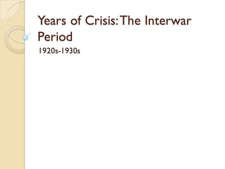 a history of industrial capitalism in the inter war period This survey of family capitalism in twentieth-century france  persisted in new  industrial sectors and in retailing in the inter-war period and into the post-war era  since by the inter-war period many of the firms in these sectors were large in   capitalism: international perspectives on hypotheses and history.
