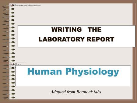 WRITING THE LABORATORY REPORT Human Physiology Adapted from Roanoak labs.