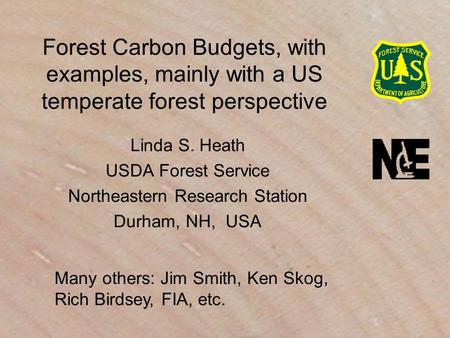 Forest Carbon Budgets, with examples, mainly with a US temperate forest perspective Linda S. Heath USDA Forest Service Northeastern Research Station Durham,